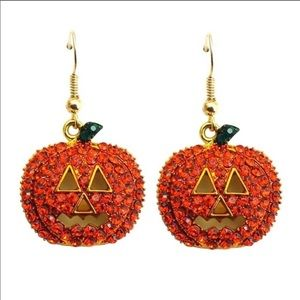 Jack o Lantern crystal earrings!